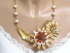Statement Bib Necklace Gold Necklace Beaded Necklace for