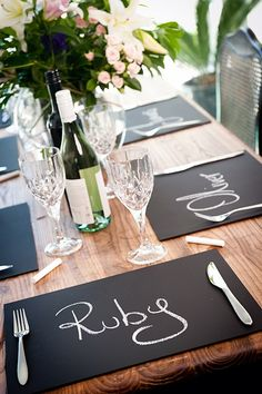 Chalkboard Placemats - cute for saving seats at weddings. Also a cute idea to have chalk on the table and allow guests to doodle.