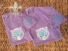 Comfort Colors sorority monogrammed pocket tee for Alpha Chi Omega big and little in lavender and teal!