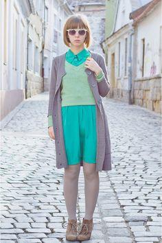 teal shirt dress Ruche dress - heather gray H&M tights