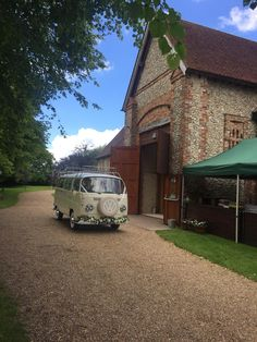 Going for a rustic barn wedding? A camper van is the perfect transport for a bride and her bridesmaids to travel together in understated style. Rupert can be hired from ♥️ Wedding Hire, Vintage Weddings, Vw Camper, East Sussex, Rustic Barn, Bay Window, Campervan, Surrey, Bridesmaids