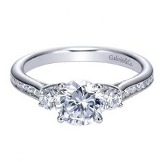 1.42cttw 3-Stone Plus Diamond Engagement Ring with Channel Set Side Diamonds from Mullen Jewelers