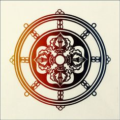 Dharma Wheel |The Dharma Chakra is the Symbol of Universal and Spiritual Law. Its spokes represent the Noble Eight-Fold Path. In the center is a Double Dorje, the adamantine symbol of sovereign power and indestructible mind.