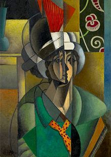 Jean Metzinger, 1913, La Femme à l'Éventail (Woman with a Fan), oil on canvas, 92.8 x 65.2 cm, Art Institute of Chicago, IL