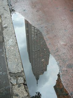 Empire State Building reflected in a puddle