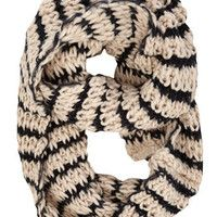 Oatmeal and Black Striped Scarf .. Cozy