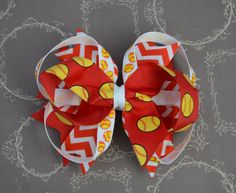 A personal favorite from my Etsy shop https://www.etsy.com/listing/232403008/softball-hairbow-red-white-yellow