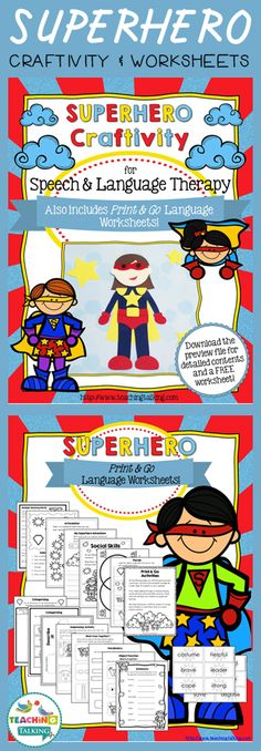 Superhero Themed Craftivity Template & Worksheets by teachingtalking.com