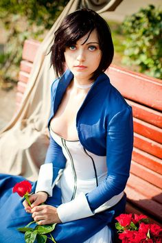 Cool Bioshock Infinite Elizabeth cosplay costume and a great inverted A-line hair bob with side-swept bangs.