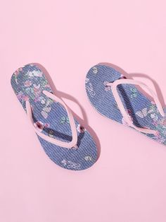 bff54ad61 Butterfly Pattern Toe Post Flip Flops