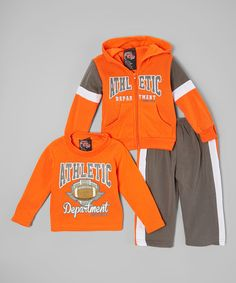 Look at this Orange & Charcoal 'Athletic' Fleece Sweatshirt Set - Infant on #zulily today!