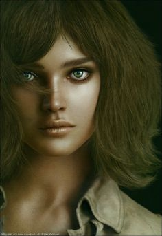 Title of this work is 'model'. I made a fashion model. she's name is 'Natalia Vodianova' and was born in Russia. Digital Portrait, Digital Art, Afghan Girl, Natalia Vodianova, Computer Art, Zbrush, Photoshop, Photography, Beautiful