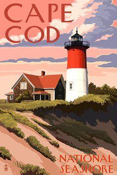 Cape Cod National Seashore - Nauset Light & Sunset - Lantern Press Poster