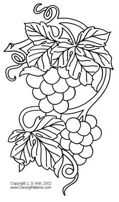 Grapes Patterns Pattern Package - World of Patterns Stencil Patterns, Embroidery Patterns, Hand Embroidery, Wood Burning Patterns, Stained Glass Patterns, Coloring Book Pages, Pyrography, Fabric Painting, Needlework