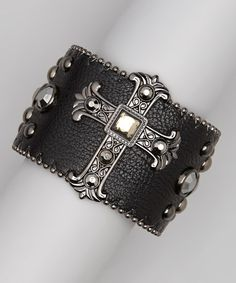 Take a look at this Black Hematite Studded Cross Bracelet by The Western Way: Accessories on @zulily today!