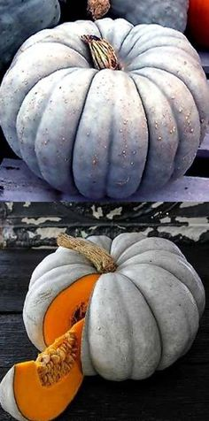 PURPLE/BLUE PUMPKINS - Many varieties: Queensland Blue, Australian Blue, Jarrahdale, Blue Doll & Blue Moon are prized for cooking as well as ornamentation. Night Garden, Moon Garden, Dream Garden, Pumpkin Squash, Blue Pumpkin, Pumpkin Vegetable, Cooking Pumpkin, Pumpkin Recipes, Gardens