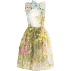 Red Valentino Hand Painted Floral Cotton Silk Dress ($824) ❤ liked on Polyvore