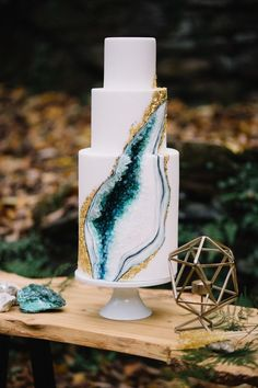 Geode wedding cake on Wych Elm dessert table by T&T Farm Tables and Bar Rentals in Philadelphia, PA