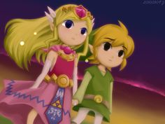 "Kawaii fan art of Link and Zelda from ""The Wind Waker"".  I love how they are holding hands!"