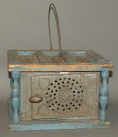 351: Blue painted wooden & tin foot warmer : Lot 351