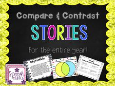 Compare and Contrast Stories (for the entire year!) - Speech Time Fun: Speech and Language Activities Sequencing Activities, Comprehension Activities, Vocabulary Activities, Speech Therapy Activities, Language Activities, Comprehension Questions, Activities For 6 Year Olds, Middle School Activities, Speech Language Pathology