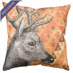 "Handmade cotton denim pillow with a deer on a Southwestern-inspired background.   Product: PillowConstruction Material: 100% Cotton denimColor: Orange, black and beigeFeatures:  Zipper enclosure  Insert included Handmade by TheWatsonShop exclusively for Joss & MainDimensions: 16"" x 16""Cleaning and Care: Dry clean"