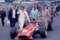 """Jacques Bernard """"Jacky"""" Ickx (BEL) (Scuderia Ferrari), Ferrari 312 - Ferrari 242C 3.0 V12 (finished 3rd)1968 British Grand Prix, Brands Hatch"""
