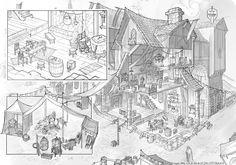 Fantasy Inn / Market - Cutaway |  Viscom 2 Week 12 de VplusY