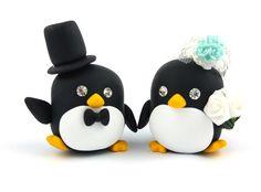 Wedding Decorations – Wedding Cake Topper bride and groom Penguins ...