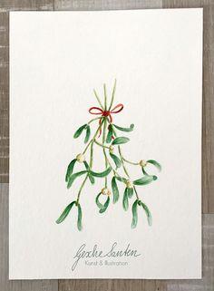 Original Aquarell - Weihnachtlicher Mistelzweig  von Gesche Santen auf DaWanda.com