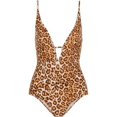 Zimmermann Alchemy cutout leopard-print swimsuit ($355) ❤ liked on Polyvore featuring swimwear, one-piece swimsuits, brown, cut out bathing suit, cut out one piece swimsuits, low back swimsuit, cutout bathing suit und one piece cutout swimsuit