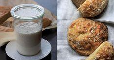 Voici comment faire du levain à la maison avec seulement de la farine et de l'eau, afin de faire du pain et d'autres recettes sans levure chimique. Kombucha, Pains, Voici, Glass Of Milk, Camembert Cheese, Breads, Biscuits, Food, How To Make Bread