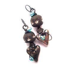 RESERVED - Rustic, Bohemian, Handmade Scorched Earth Heart Dangle Earrings, Platinum, Black Niobium Ear Wires