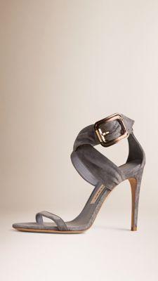 Buckle Detail Suede Sandals