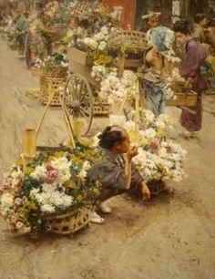 The Flower Market, Tokyo by Robert Frederick Blum - Canvas Art Print Japanese History, Japanese Art, Colorful Paintings, Flower Market, American Artists, Drawing, Asian Art, Cincinnati, Canvas Art Prints