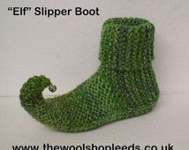 Easy to follow knitting pattern for our Elf Slipper Boot in Marble Chunky yarn