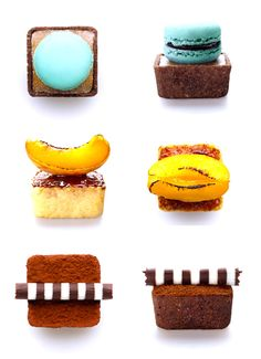 From top, are Budino, with butterscotch pudding in a chocolate crust topped with a caramel macaron; Creme Brulee with a torched apricot and peach; and Tiramisu topped with a handmade chocolate straw.