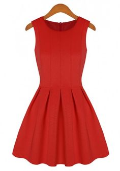 Red Plain Round Neck Sleeveless Cotton Blend Dress - all this needs is a jacket and some cute accessories