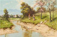 Cottage Art, Modern Landscaping, Flocking, Landscape Paintings, Oil On Canvas, Walking, Artwork, Paisajes, Work Of Art