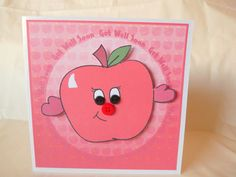 Apple Get Well Soon Card Send A Hug UK Seller by squirrelcrafts46, £4.00 Feeling Under The Weather, Sending Hugs, Get Well Soon, Country Farmhouse, Say Hi, Creative Cards, Friend Birthday, Folk, Encouragement