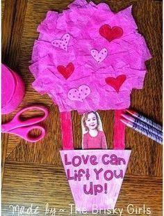Valentine Craft- Hot Air Balloon Valentine's Day Activity, Valentine Craft, Valentine Arts and Crafts, Valentine Fun Activity, Val Valentine's Day Crafts For Kids, Valentine Crafts For Kids, Valentines Day Activities, Holiday Crafts, Valentines Crafts For Kindergarten, Toddler Arts And Crafts, Funny Valentine, Roses Valentine, Valentine Cards