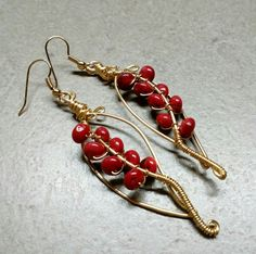 #166 Brass red coral earrings with gold plated hooks / κοράλλια