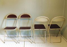 FREE Shipping Vintage Folding Chairs Cream Metal & Burgundy Upholstery  $150.00