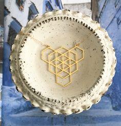 Geometric Linked Angular Prism Necklace // Gold Plated Laser Cut Geo Gem…