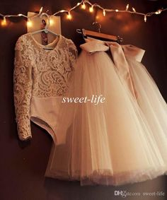 Vintage Lace Flower Girl Dresses Two Pieces Ball Gown Tutu Sash Ribbon Floor Length Illusion Jewel Neck 2016 Custom Made Girls Pageant Dress Online with $82.11/Piece on Sweet-life's Store   DHgate.com