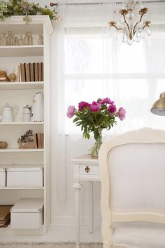 French chair and writing desk in white are perfect in my French Modern Home Office from Shabby Fufu Blog.