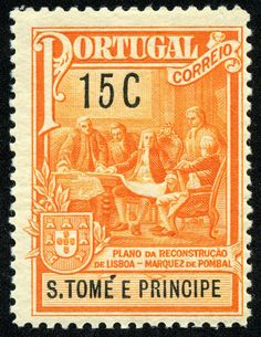 "St. Thomas and Prince Islands  1925 Scott RA2 15c orange & black  ""Planning Reconstruction of Lisbon, 1755"" Pombal Postal Tax Issue"