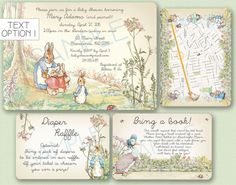 These Peter Rabbit vintage inspired invitations are custom made to your liking, sizing, and details! This was made for my baby shower - Peter Rabbit / Beatrix Potter theme. See other listings for decorations and thank you cards! This invitation pack set the stage for what turned out to be a very cute shower! Everyone raved about the decorations and the invitation. This can also be made into a birthday invitation!  Invitation: 5x7 All others: 4x6  ARTWORK - There are 2 different text styl...