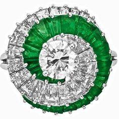 Cartier Spiral Emerald & Diamond Ring   Glitters