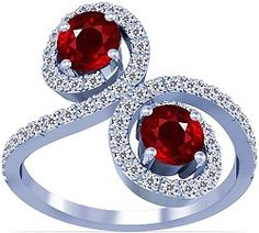 18K White Gold Round Cut Ruby Ring With Sidestones